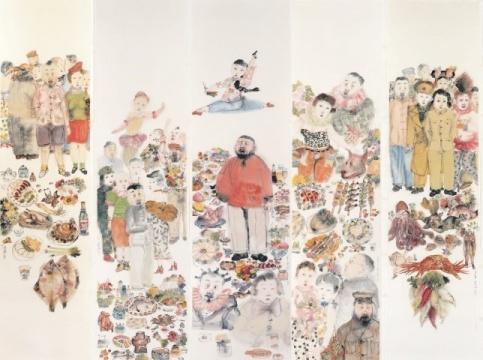 李津 《盛宴(五张一组)》 215×52.5cm×5设色纸本 2007 成交价:284万港币 由亚洲收藏家竞得