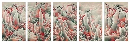 仇德树《烈变-山景(五联作)》210×125.5cm×5水墨、压克力纸本 2005 成交价:81.25万港币 由亚洲艺商竞得