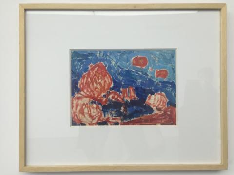 《秋红》 19.5×27cm 纸上油画 1976