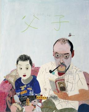 王玉平 《父子》 200×160cm 布面丙烯、油画棒 2010