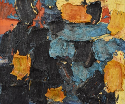 朱金石 《写魏碑的父与子》 100×120cm 油画 2007
