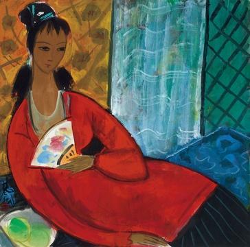 林风眠 《红衣仕女》 69×69cm 纸本彩墨 1989 成交价:943万元