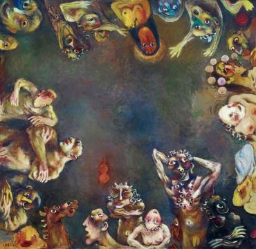 夏小万《环》164×159cm 布面油画 1987 成交价:172.5万元