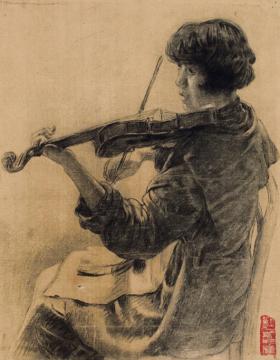 徐悲鸿《悠悠提琴声》 39×30cm 纸本素描 成交价:57.5万元