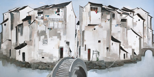 吴冠中《周庄》148×297 cm布面油画1997  成交价:2.36亿港币刷新艺术家个人最高拍卖纪录