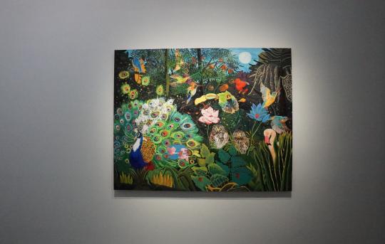 《卢梭的画面-百鸟之王》 布面油画,油画棒 160×200cm 2016