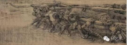 尚扬 《黄河船夫》素描稿 142×385cm 1981 成交价:1150万元