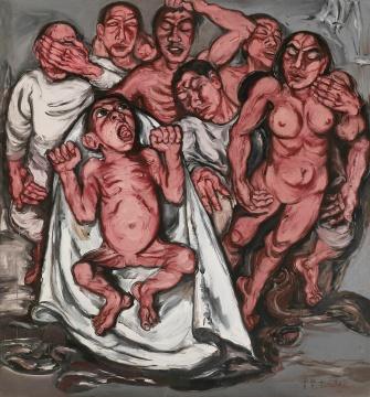 曾梵志 《肉系列之三: 献血过量》 180×167cm 布面油画 1992 成交价:3036万港币 香港佳士得
