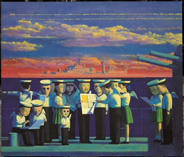 《红色战舰》120x140cm 布面丙烯油彩 1997