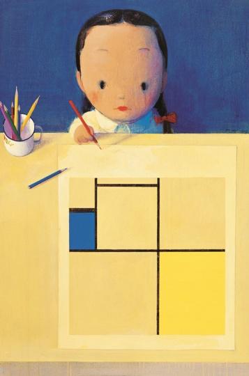 《她和蒙德里安》 120×80cm 布面丙烯 2003