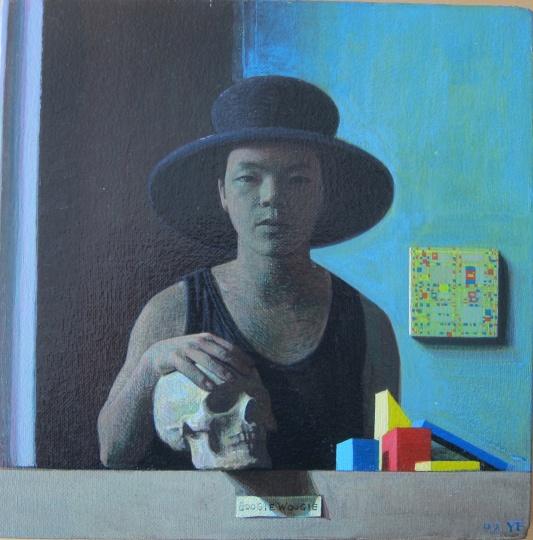 《自画像》24x24cm 布面丙烯油彩 1992