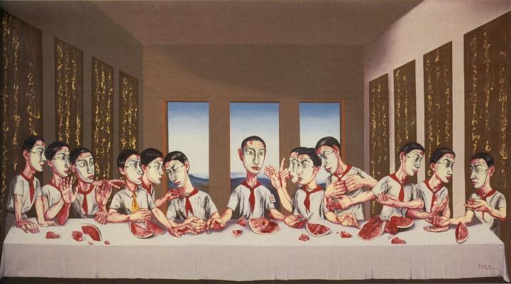 《最后的晚餐》220×395cm 布面油画 2001 成交价:1.8亿港币(1.4亿人民币) 香港苏富比2013年秋季拍卖会