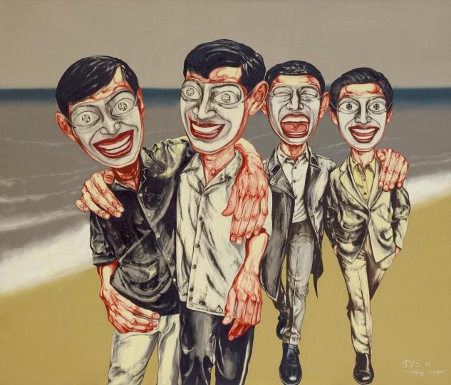 《面具系列 4号》 169×199cm 布面油画 1997 成交价:3260万港币(2579万人民币) 香港苏富比2014年秋季拍卖会