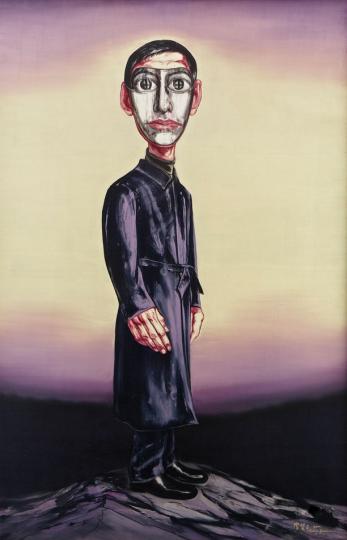 《面具系列》220×145cm 布面油画 2001 成交价:2812万港币(2218.7万人民币) 香港苏富比2013年秋季拍卖会