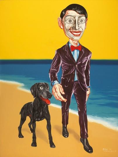 《面具系列》200×150cm 布面油画 1998 成交价:2588万港币(2042万人民币) 佳士得香港2014年秋季拍卖会