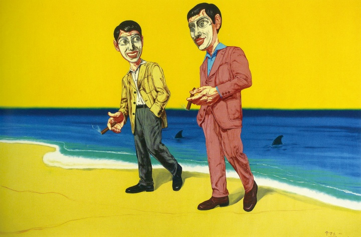 《面具系列》217.5×327.5cm 布面油画 1999 成交价:2250万港币(1813.5万人民币) 佳士得香港2012年秋季拍卖会