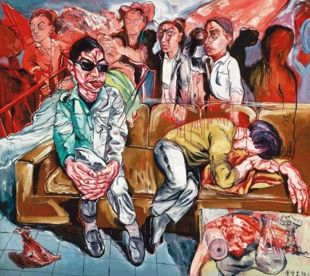《无题(医院系列)》 179.5×199cm  布面油画 1994 成交价:1914万港币(1686万人民币) 佳士得香港2009年秋季拍卖会