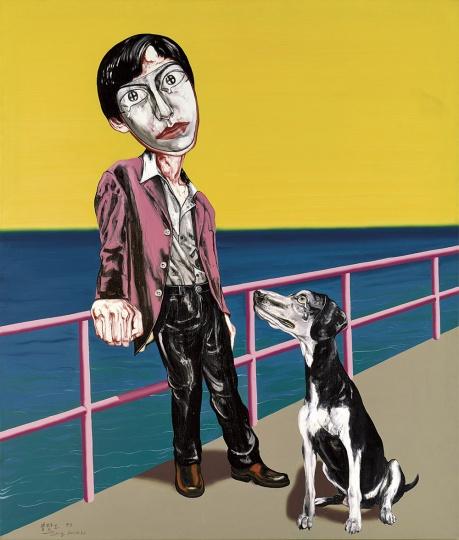 《面具系列》169×144.3cm 布面油画 1998 成交价:2084万港币(1669万人民币) 佳士得香港2015年春季拍卖会