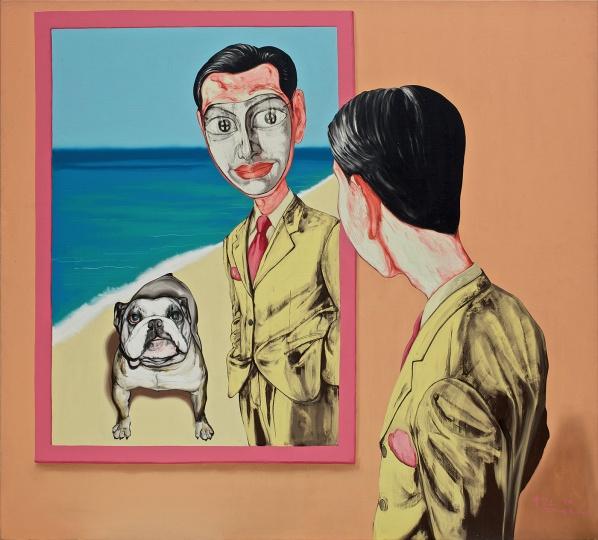《面具系列1998廿六号》 179×199cm 布面油画 1998 成交价:2026万港币(1661万人民币) 香港苏富比2011年秋季拍卖会