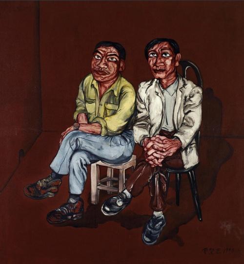 《艺术家的朋友们》 179×164cm 布面油画 1993 成交价:1610万人民币 中国嘉德2011年秋季拍卖会