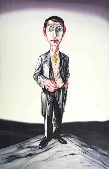 《面具系列》199.7×129.6cm 布面油画 2001 成交价:1804万港币(1423万人民币) 佳士得香港2014年秋季拍卖会