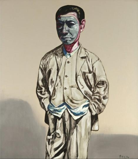 《面具系列14号》 149×129cm 布面油画 1994 成交价:1804万港币(1423万人民币) 香港苏富比2013年秋季拍卖会