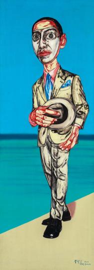 《面具系列》197×69cm 布面油画 2000 成交价:1728万港币(1365万人民币) 保利香港2014年春季拍卖会