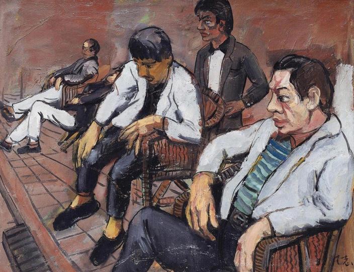 《黄昏之一》 80×100cm  布面油画 1989 成交价:1150万人民币 北京保利2013年秋季拍卖会
