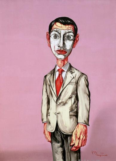 《面具系列》150×104cm 布面油画 2001 成交价:1365万港币(1114万人民币) 罗芙奥台北2011年秋季拍卖会