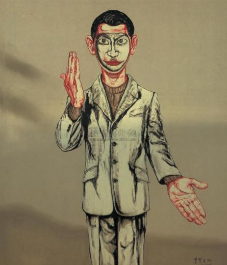 《面具系列第八号》 150×130cm 布面油画 1994 成交价:1074万港币(945万人民币) 香港苏富比2010年春季拍卖会