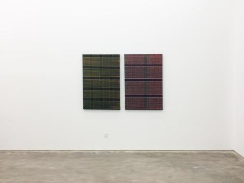 迟群 《相交-绿橘 & 红灰》120x80cm,120x80cm 布面油画 2016