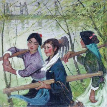 Lot 107苏天赐 《春风杨柳万千条》 110×110cm 布面油画 1960年代  成交价:747.5万元