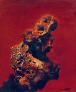 Lot 54 周春芽 《太湖红石》 73×60.5cm 布面油画 1995  成交价:126万元