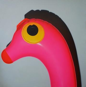 孙一钿 《有蓝色翅膀的粉色恐龙》 230x230cm 布面丙烯 2016