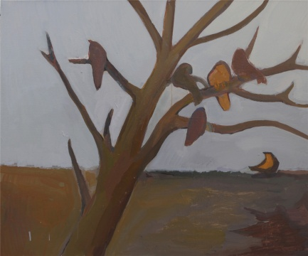 《如同凝固在同样寂寞的树枝上的花朵》 80×100cm布面丙烯 2014