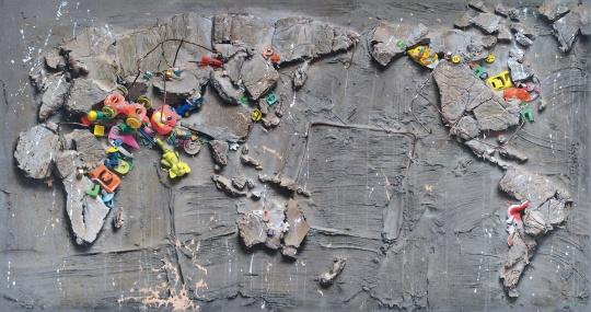"""冷军《世纪风景之三》 105×200cm布面油画 1995  成交价:2817.5万元    估价千万级别的中国当代艺术拍品还有曾梵志创作于2007年的《无题07-14》、吴冠中的《夜》和《野菊花》、朱德群的《扩张》。最终这几张""""大件""""均找到了下一任买家。"""