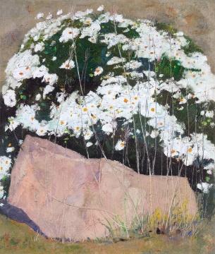 吴冠中《野菊花》 52.5×45cm布面油画1985  成交价:1610万元