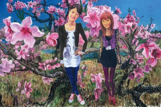周春芽 《大乔小乔》 254×360cm 布面油画 2010  成交价:632.5万元,由刘益谦竞得