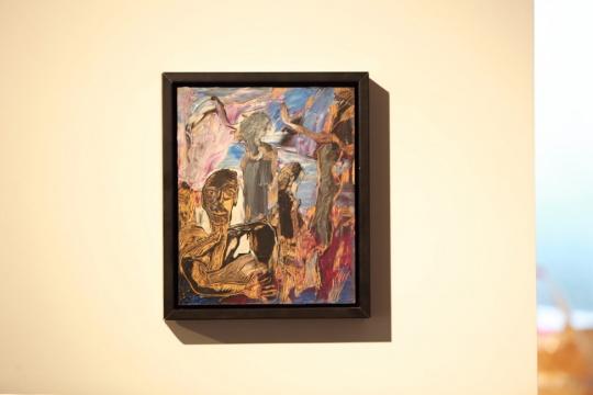 于向溟《影之一》22×27cm木板油画加木刻 1996
