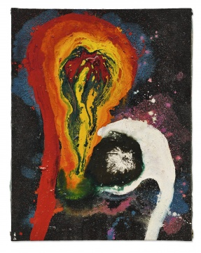 元永定正 《work》 116.7×90.9cm 油画、合成树脂漆及砾石画布 1963  成交价:1030万港元,刷新艺术家个人纪录