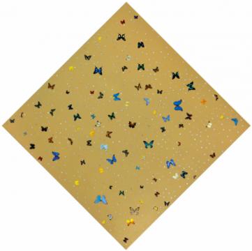 达明·赫斯特 《弥达斯与上帝》 301.7×301.7cm 蝴蝶、合成钻石、油彩磁漆画布 2008  成交价:790万港元