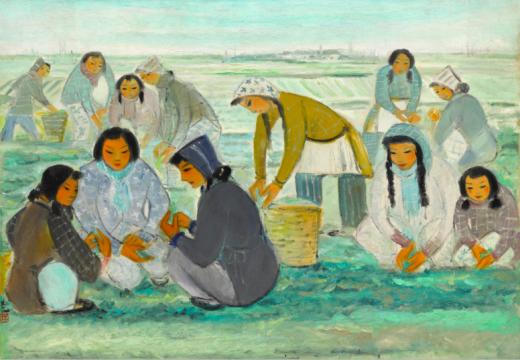 林风眠 《丰收的早晨》 85.8×123.8cm 油画画布 1950  成交价:2410万港元