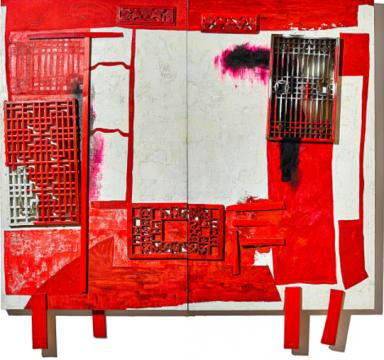 王怀庆 《房中房——红色之床》(双联作) 200×240cm 综合媒材 2002  成交价:2170万港元