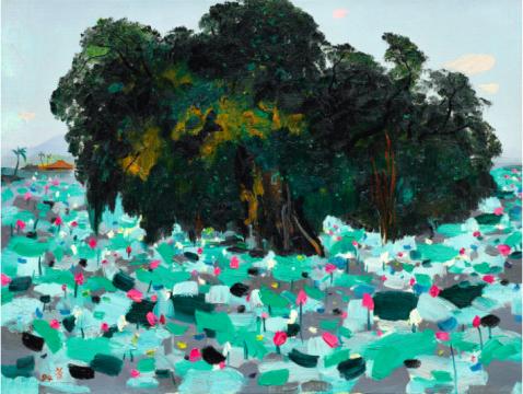 吴冠中 《榕树与莲花》 61×80cm 油画画布 1994  成交价:1450万港元