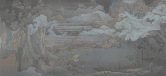 郝量 《潇湘八景—寰宇》 387×184cm 绢本水墨 2016