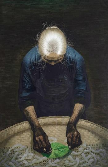 Lot 0159罗中立《春蚕》216×140cm 布面 油画1982  估价RMB 8,000,000-12,000,000中国嘉德2017春拍