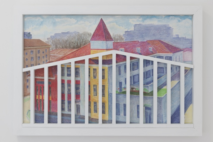 《风景》 90×60cm粉笔、旧墙板、旧木结构 2017