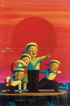 刘野 《朝阳》 60×40cm 布面油画 1999  成交价:471.5万元(估价:300万-500万元,据推测由泰康竞得)