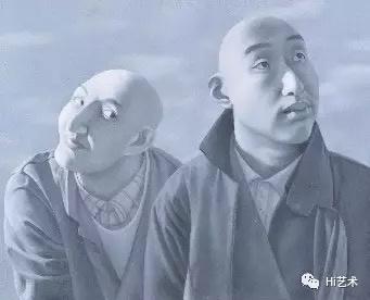 方力钧 《系列一之五》 81×100cm 布面油画 1990-1991  以1840万元成交于北京保利秋拍,系艺术家2016年拍卖第一高价