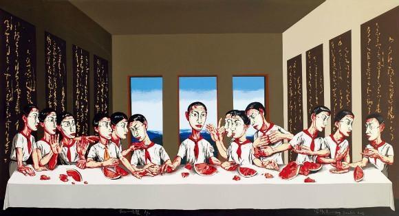 曾梵志 《最后的晚餐》 220×395cm 布面油画 2001  以1.42亿元成交于2013香港蘇富比秋拍,系艺术家个人纪录拍品